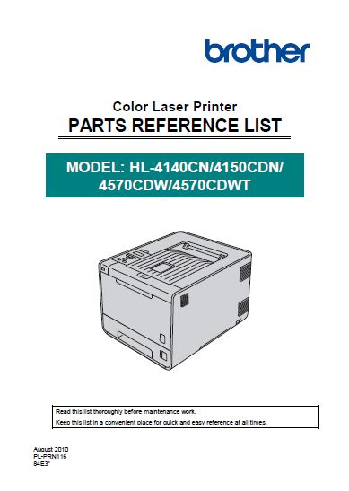 Brother Parts Reference List
