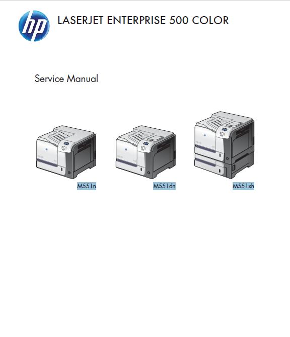 HP LaserJet Enterprise 500 Color M551 Series Service Manual with Parts Manual